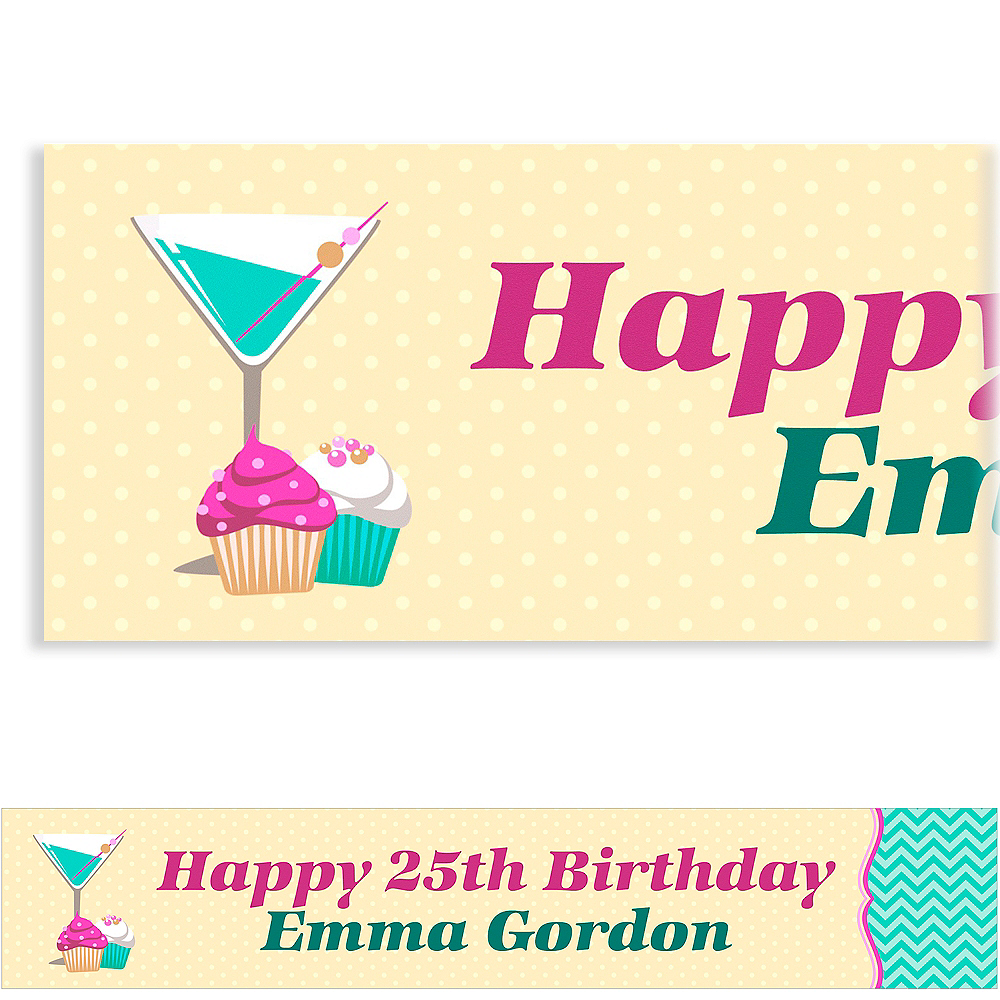Custom Cocktails & Cupcakes Banner 6ft Image #1