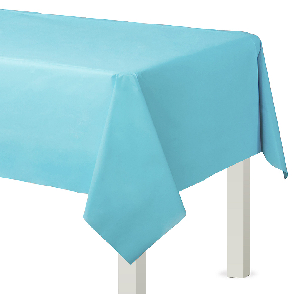 Caribbean Blue Plastic Table Cover 54in X 108in Party City