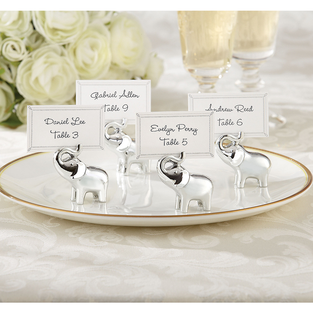 Silver Elephant Place Card Holders Image #1