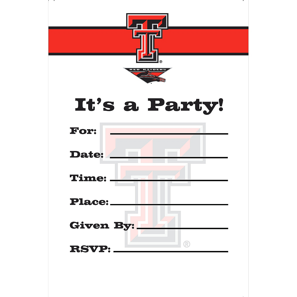 Texas Tech Red Raiders Invitations 8ct Image #1