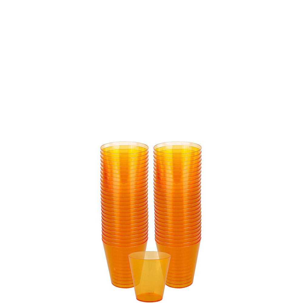 Big Party Pack Orange Plastic Shot Glasses 100ct Image #1