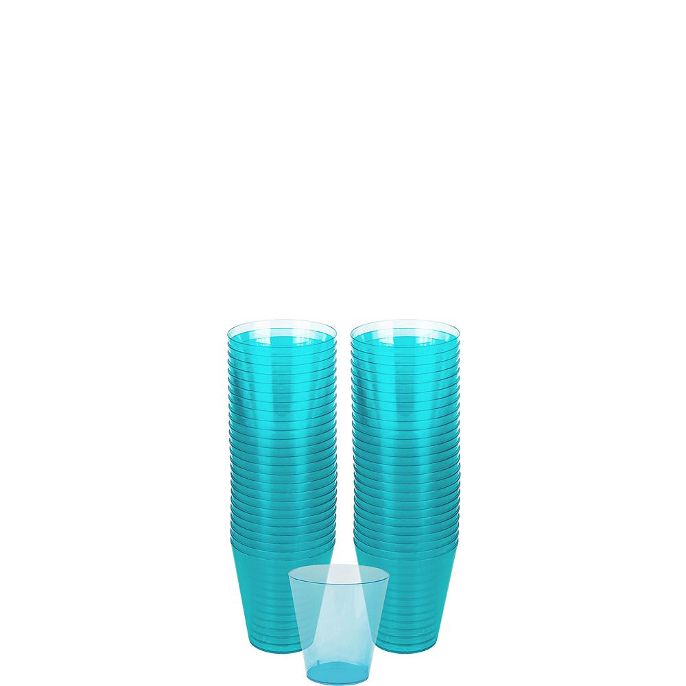 Big Party Pack Caribbean Blue Plastic Shot Glasses 100ct Image #1