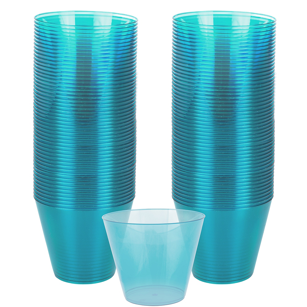 Big Party Pack Caribbean Blue Plastic Cups 72ct Image #1