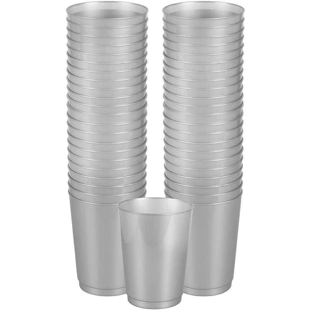 Big Party Pack Silver Plastic Cups 72ct Image #1