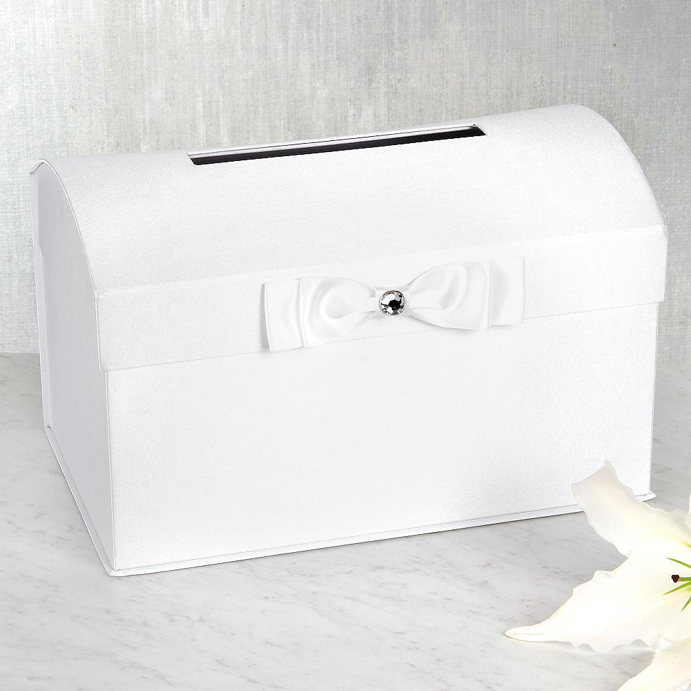 White Wedding Card Holder Box with White Bow Image #1