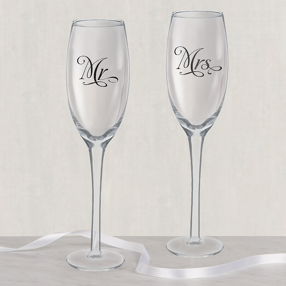 Mr. & Mrs. Wedding Toasting Glasses 10ct