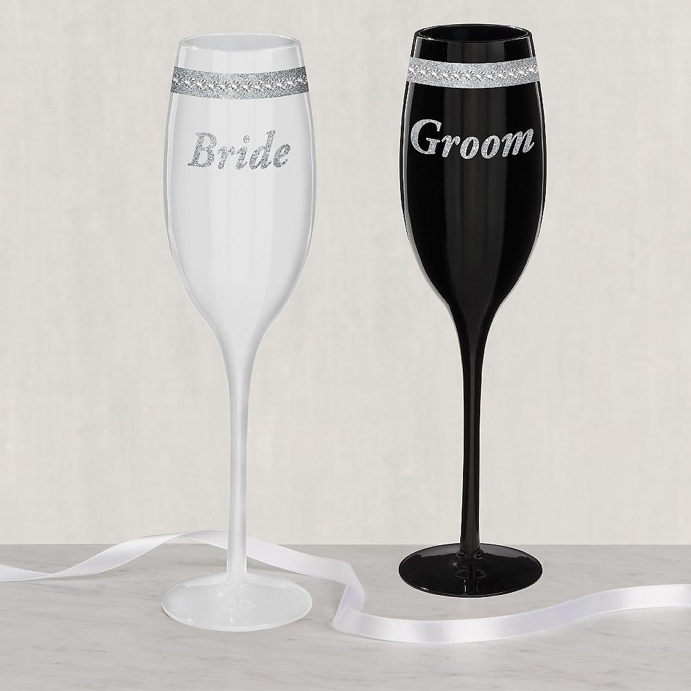 Rhinestone Bride & Groom Wedding Toasting Glasses 2ct Image #1