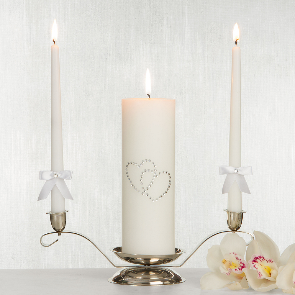 White Hearts Unity Candle Set 3pc Image #1