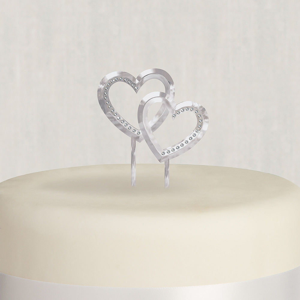 Double Heart Wedding Cake Topper Image #1