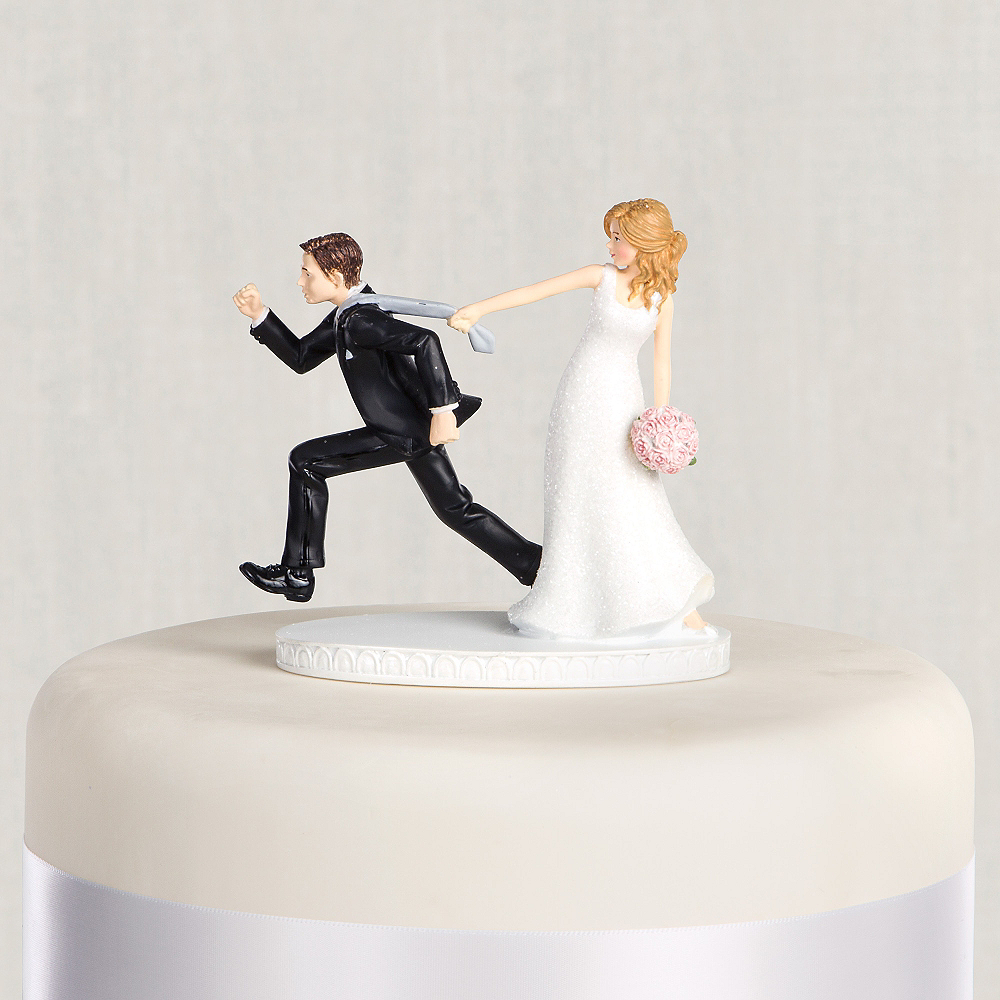 Tie Puller Bride   Groom Wedding Cake Topper 4 1 8in  f2deed6e9
