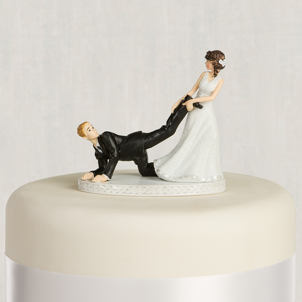 Leg Puller Bride & Groom Wedding Cake Topper 4in