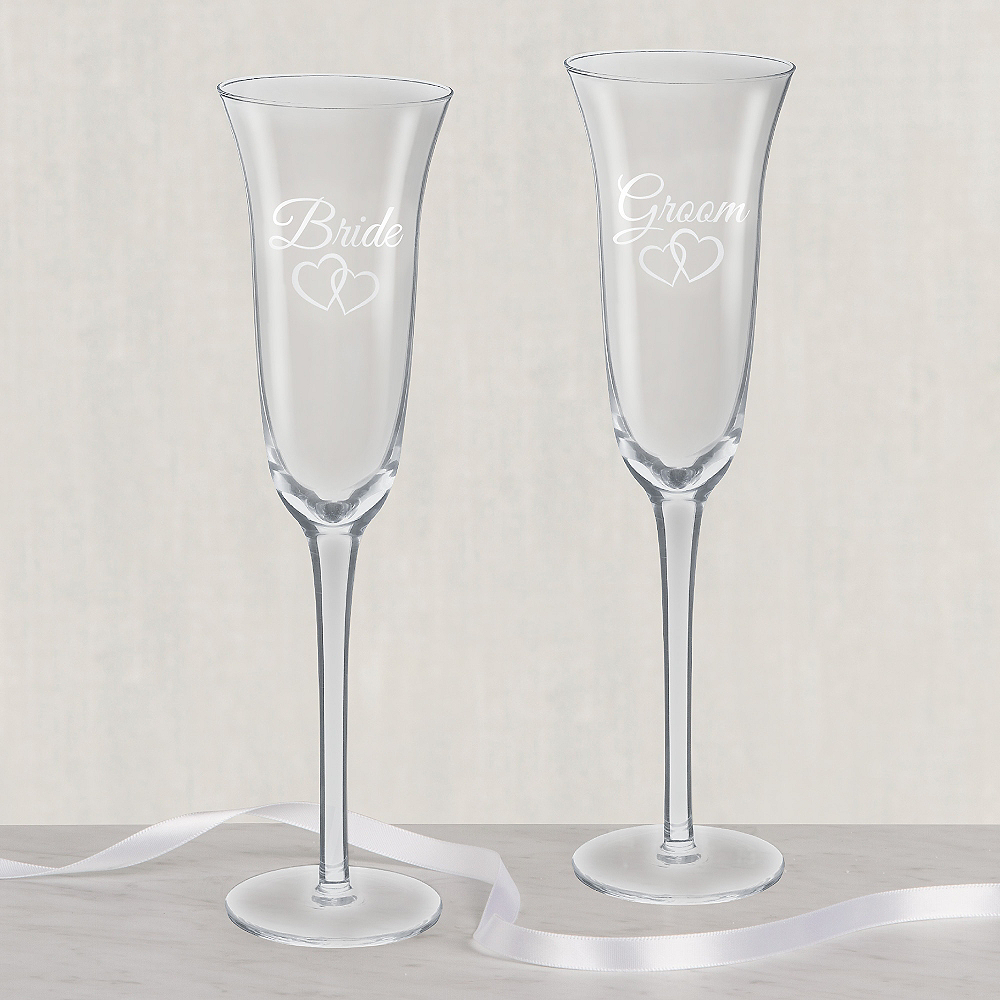 Bride & Groom Wedding Toasting Glasses 2ct Image #1
