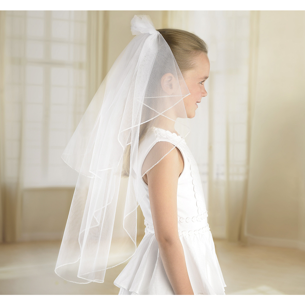 Girls White Double Layer Veil 24in Image #1