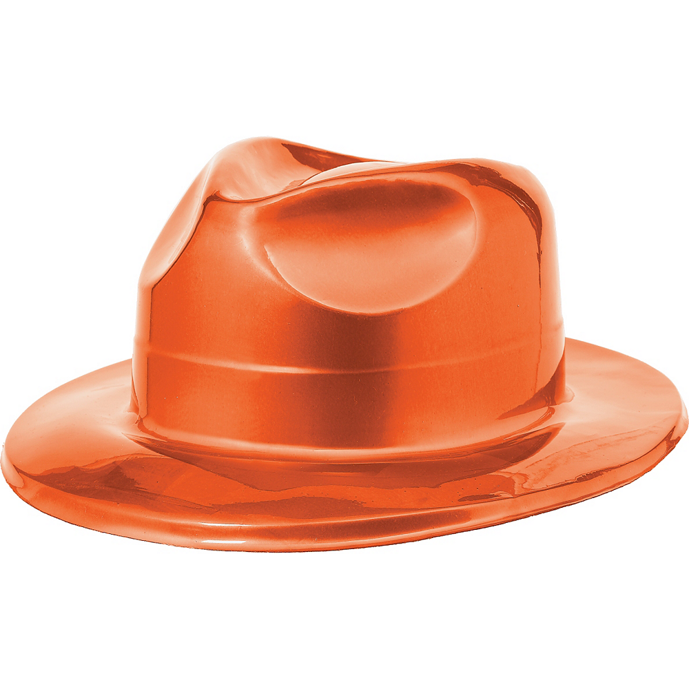 Orange Plastic Fedora Image #1