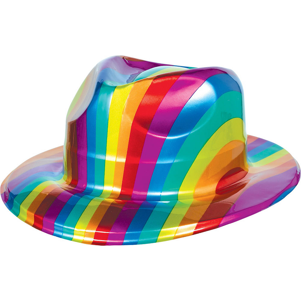 93cd4dc6fdbdd3 Rainbow Plastic Fedora 10 1/2in x 4 1/2in | Party City
