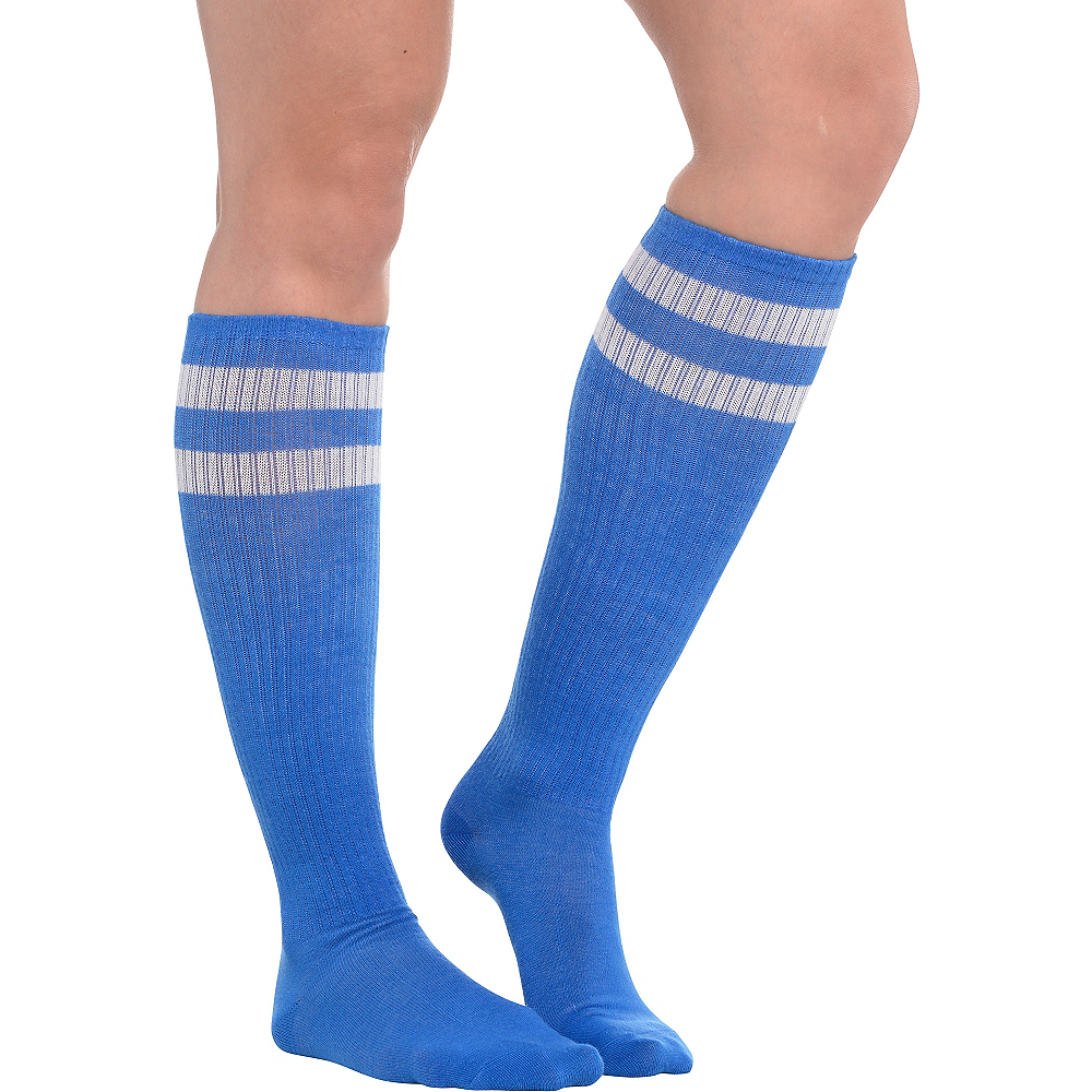 Nav Item for Blue Stripe Athletic Knee-High Socks Image #1