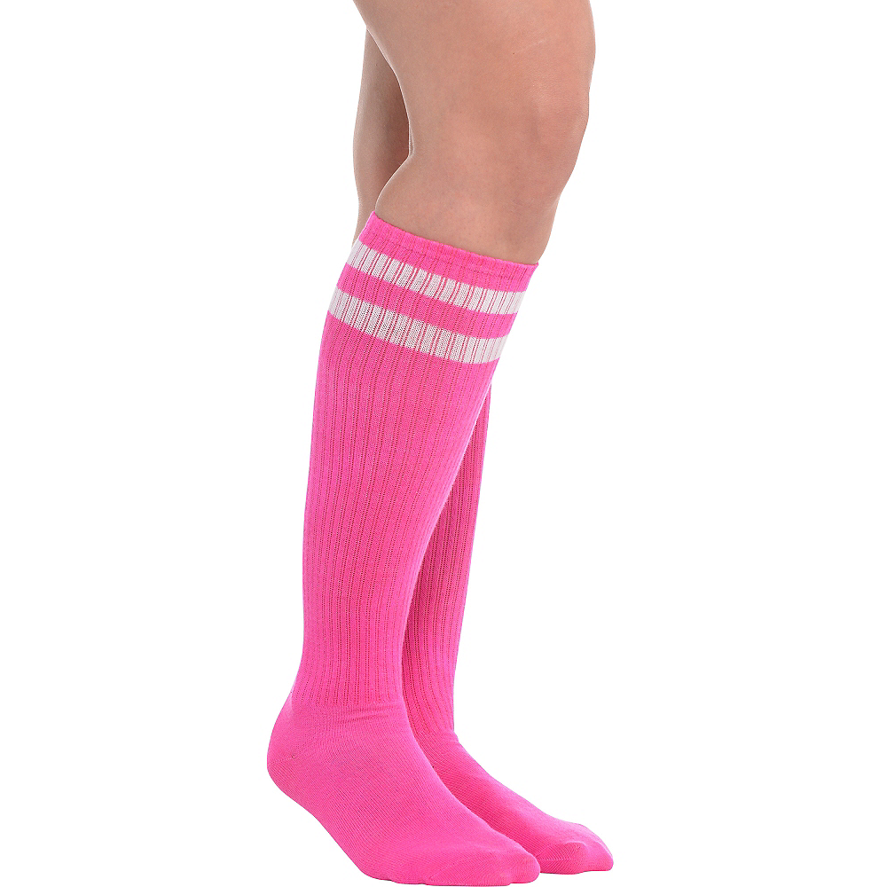 e4e86f8fcabbf Pink Stripe Athletic Knee-High Socks 19in | Party City