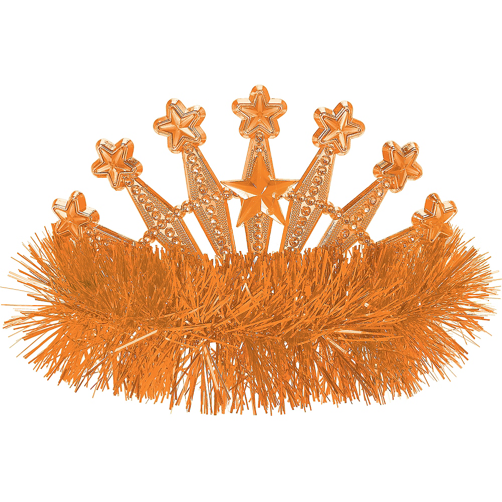 Orange Star Tinsel Tiara Image #1