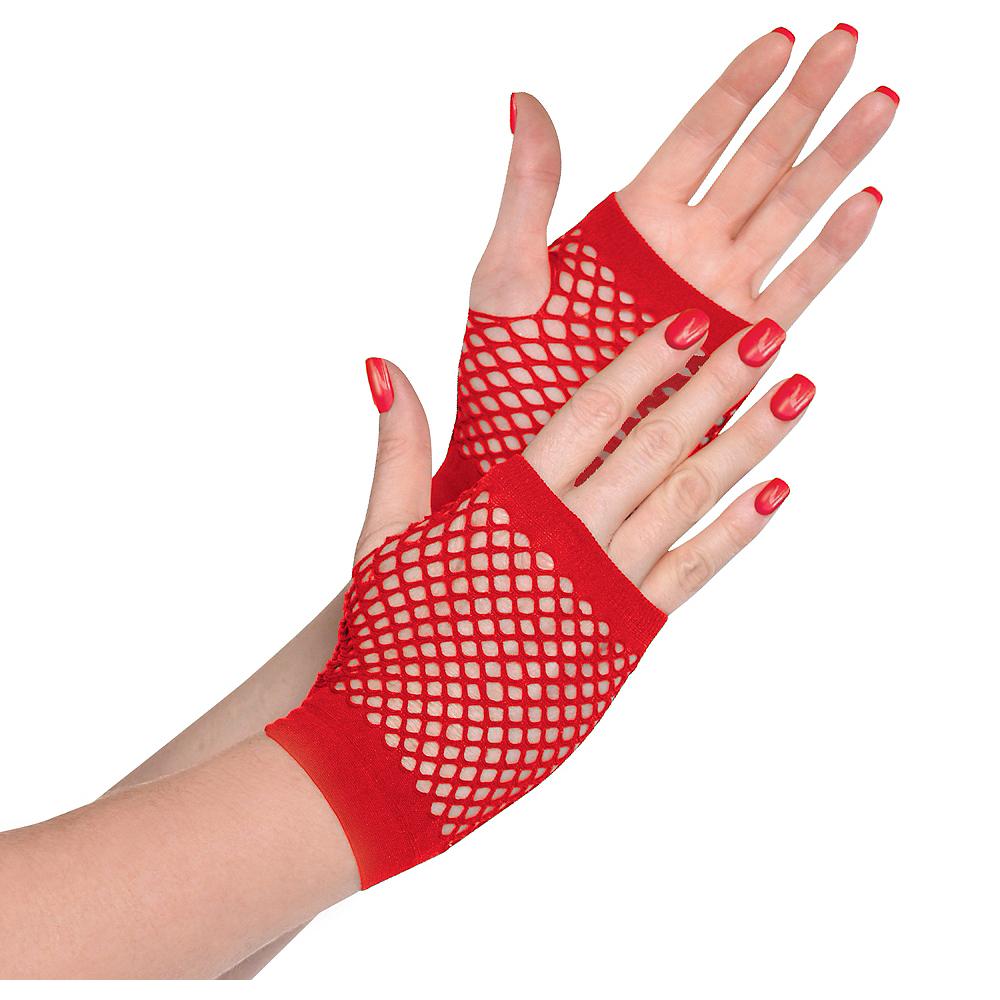 Red Fishnet Glovelettes Image #1