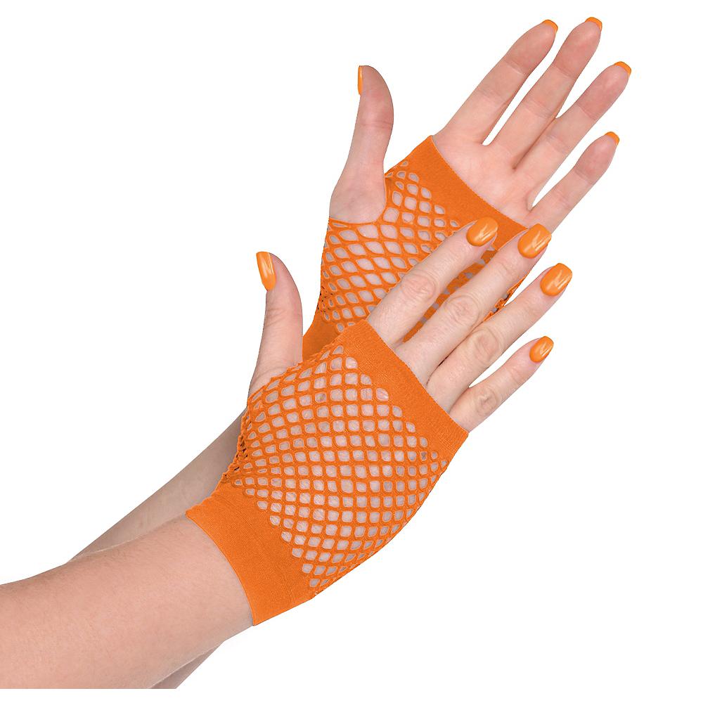 Orange Fishnet Glovelettes Image #1