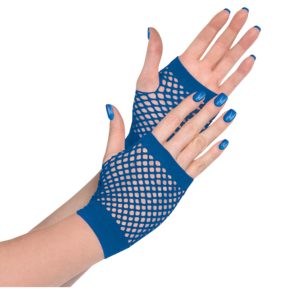 Blue Fishnet Glovelettes Image #1