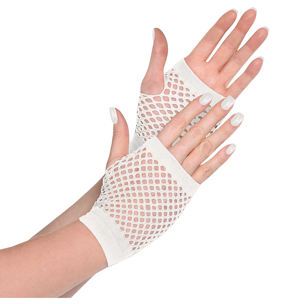 White Fishnet Glovelettes Image #1