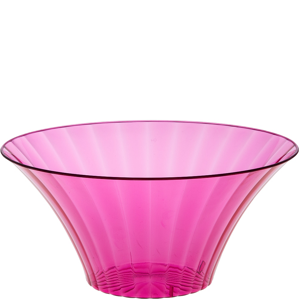 Large Bright Pink Plastic Flared Bowl Image #1