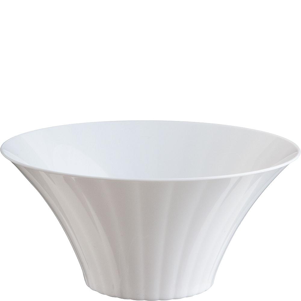 Large White Plastic Flared Bowl Image #1