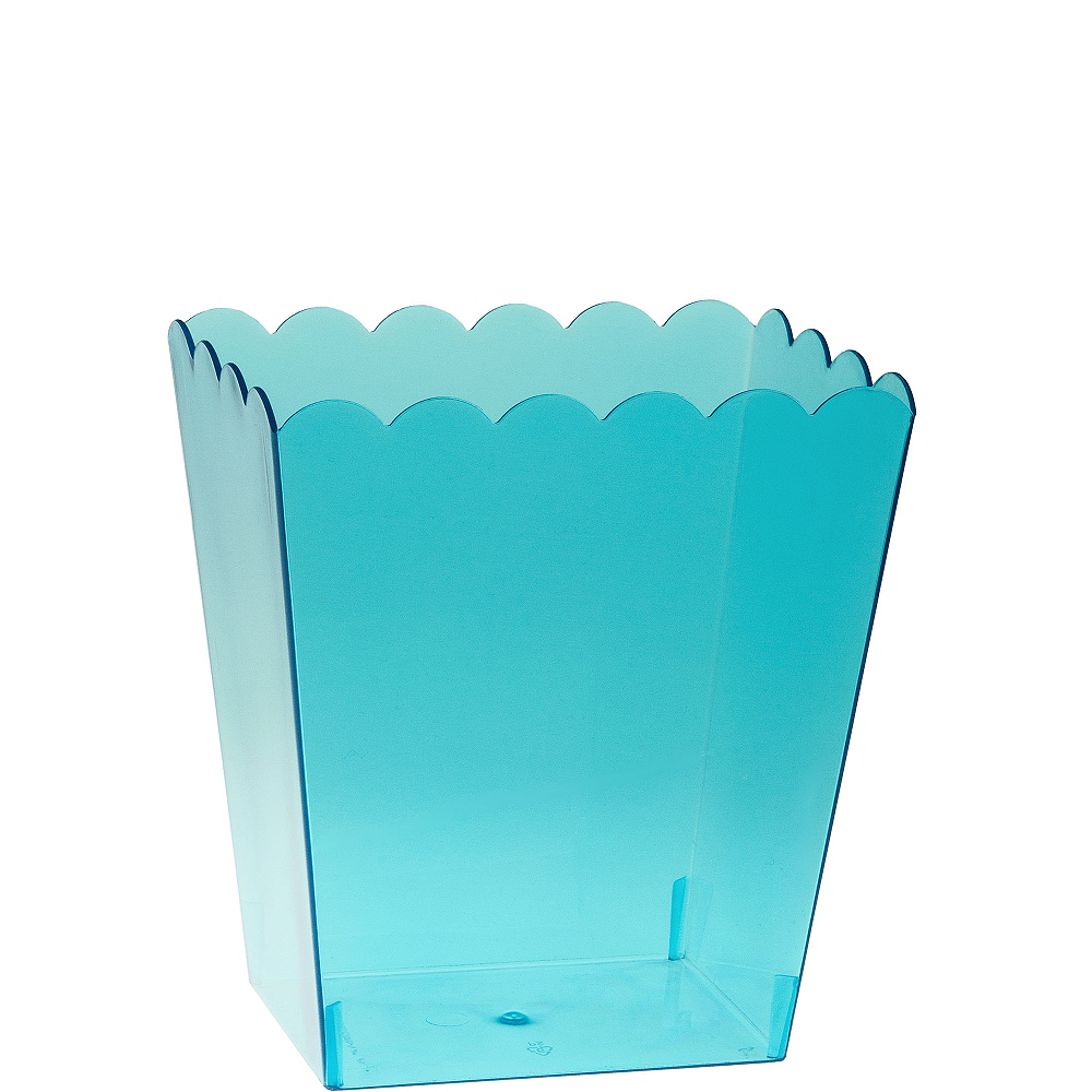Small Caribbean Blue Plastic Scalloped Container Image #1