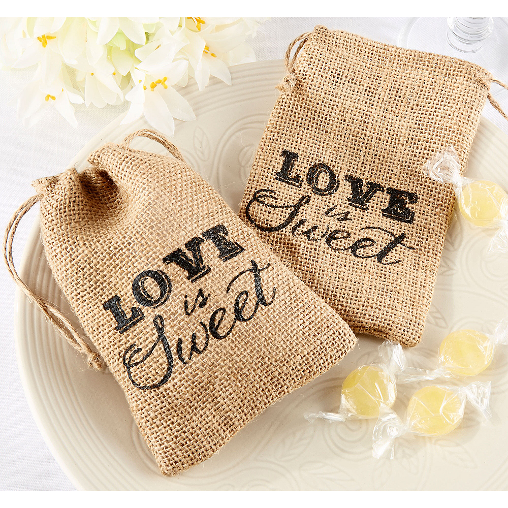 Love Is Sweet Burlap Favor Bags
