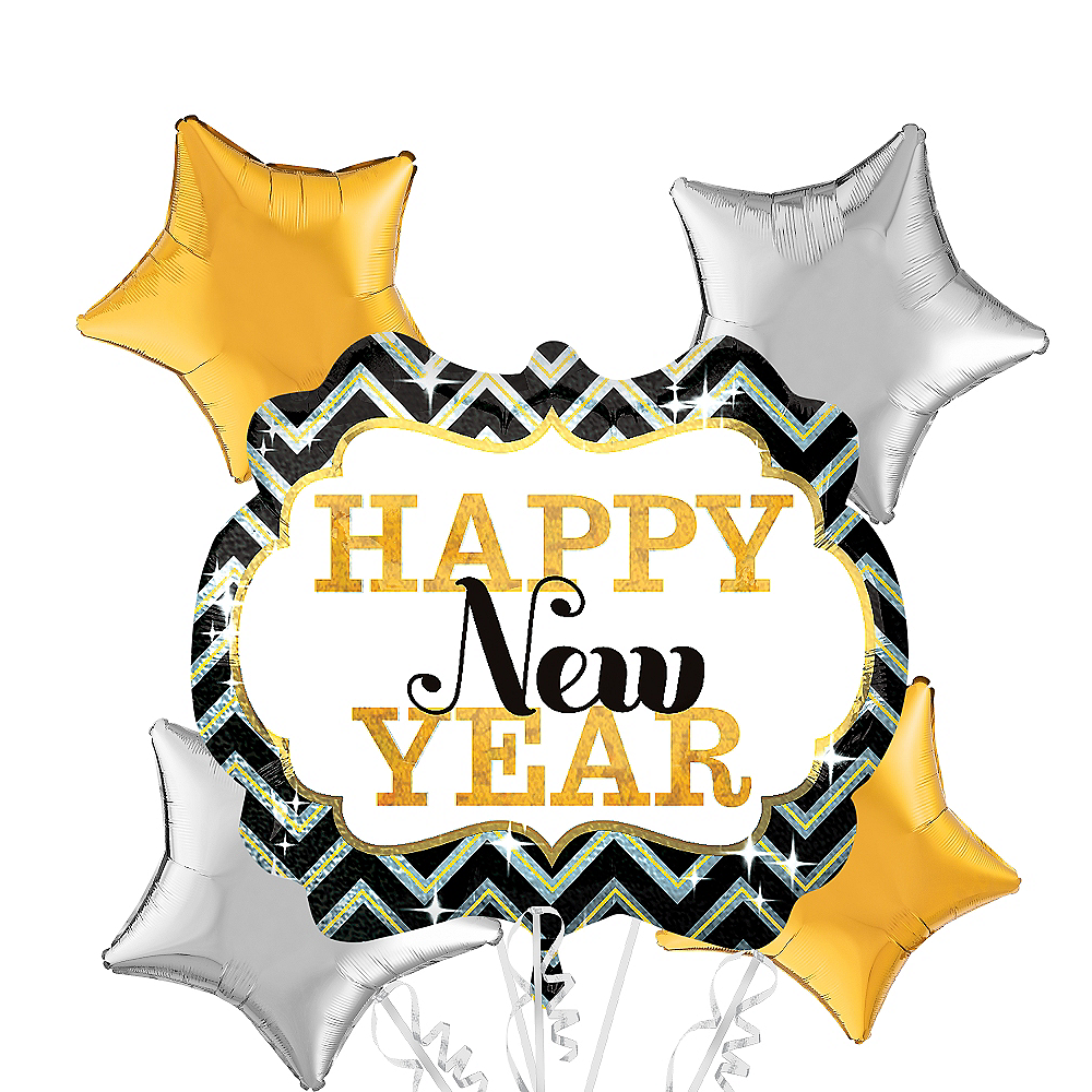 Black, Gold & Silver Marquee Happy New Year Balloon Bouquet 5pc Image #1