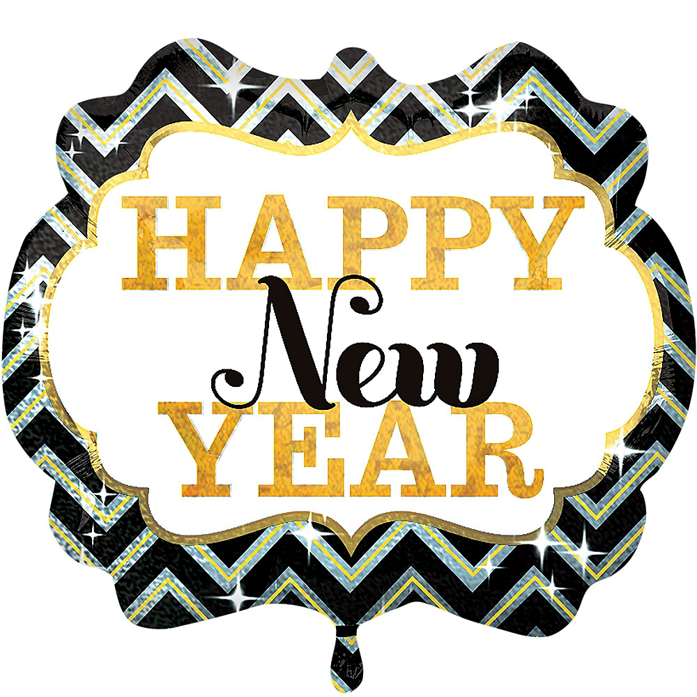 Black, Gold & Silver Marquee Happy New Year Balloon Bouquet 5pc Image #4