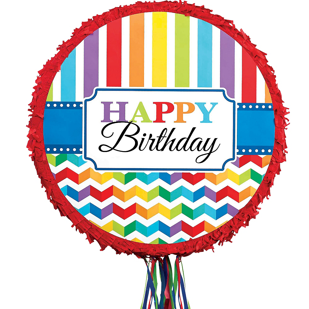 Pull String Rainbow Chevron Birthday Pinata Image #1