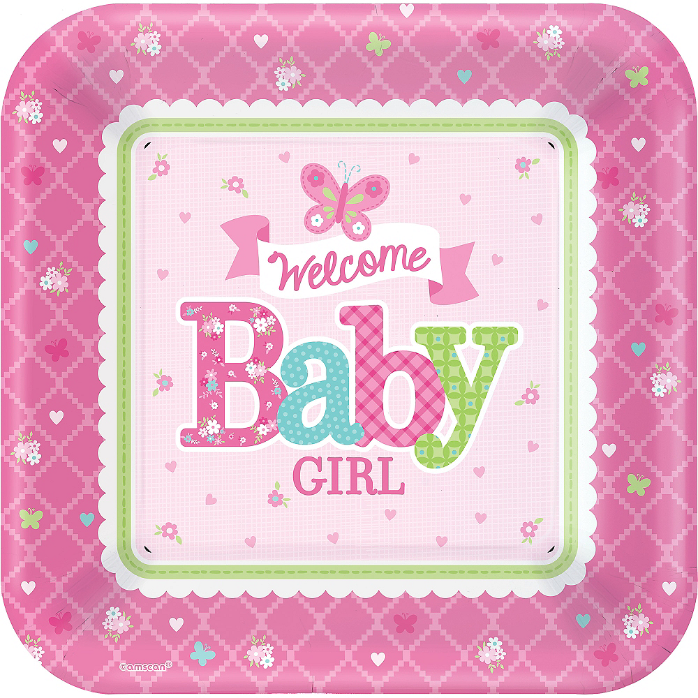 Welcome Baby Girl Baby Shower Dinner Plates 8ct Party City