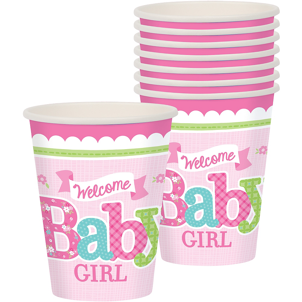 Welcome Baby Girl Baby Shower Cups 8ct Image #1