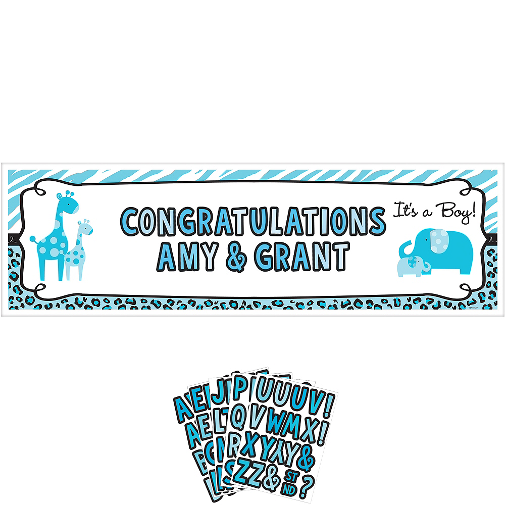 Giant Personalized Blue Safari Boy Baby Shower Banner Kit Image #1