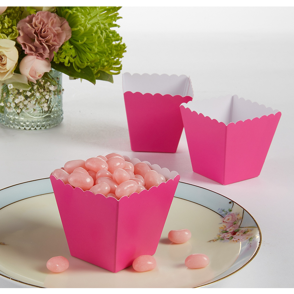 Bright Pink Scalloped Favor Boxes 100ct Image #1