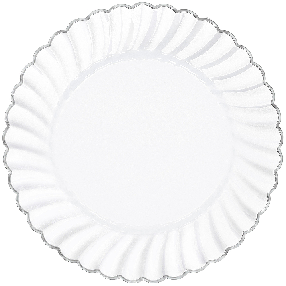 White Silver Trimmed Premium Plastic Scalloped Dinner Plates 10ct
