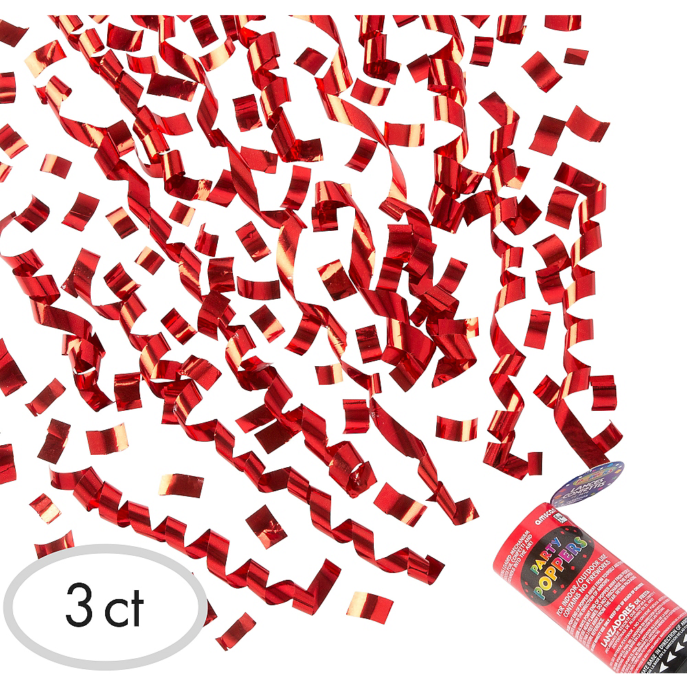 Red Confetti Party Poppers 3ct | Party City