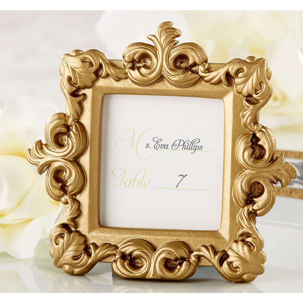 gold baroque photo frame place card holder 4in x 3 1 2in party city