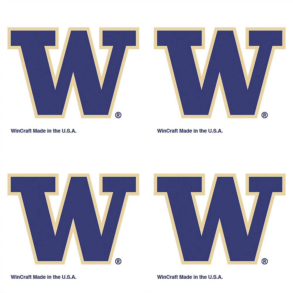 Washington Huskies Face Tattoos 4ct Image #1