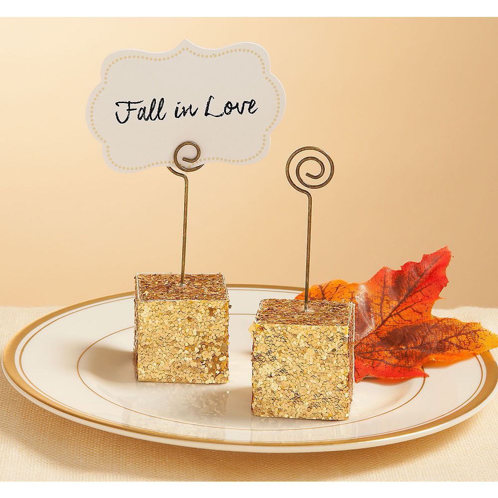 Gold Glitter Cube Place Card Holder Image #1