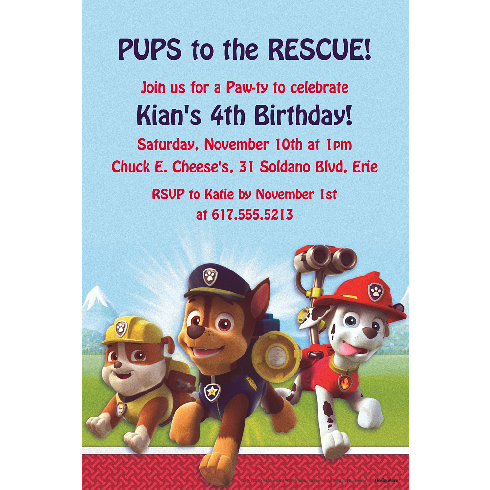 Custom Paw Patrol Invitations Image 1