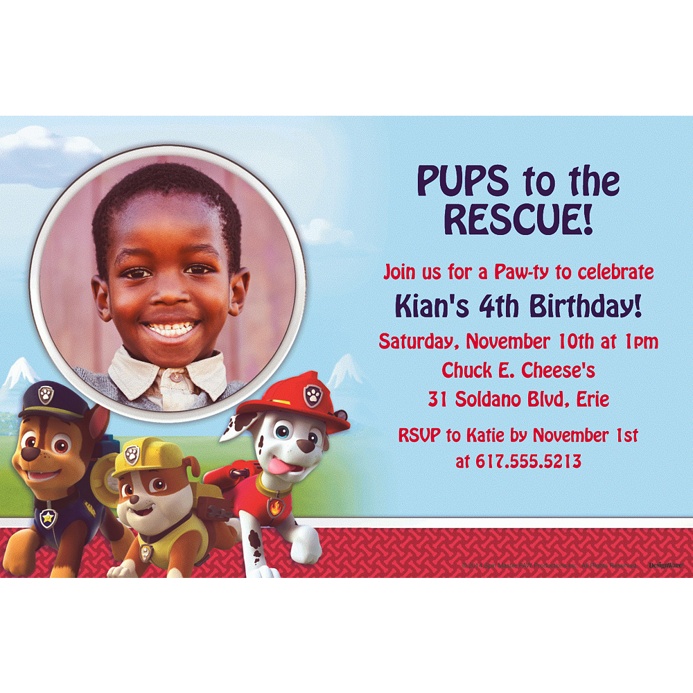 Custom Paw Patrol Photo Invitations Image 1