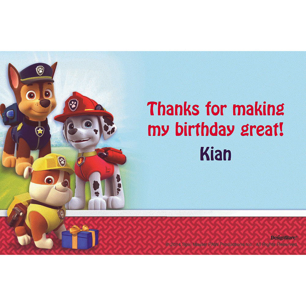 Custom Paw Patrol Thank You Notes Party City