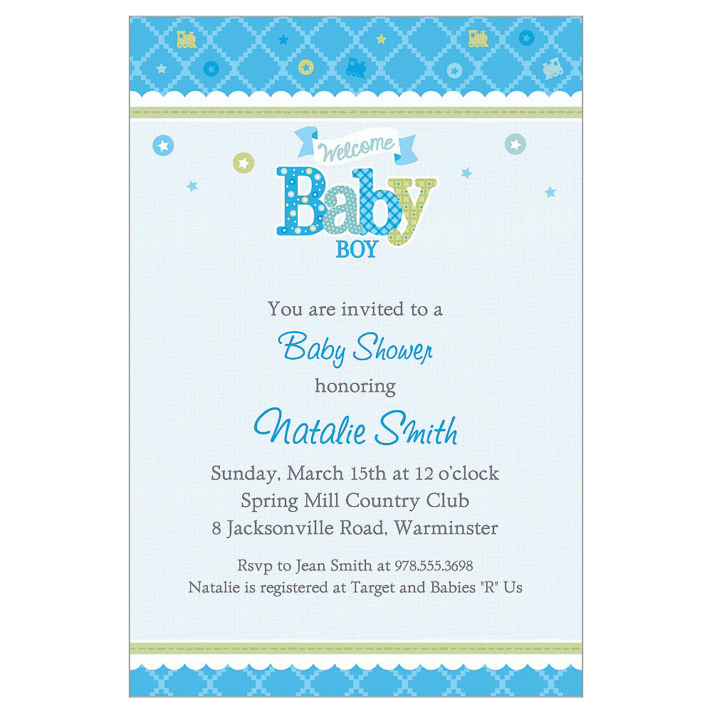 Custom Welcome Little One Boy Invitations Image #1