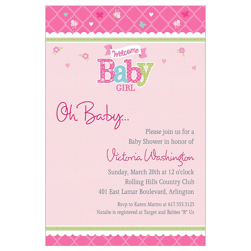 Custom Welcome Little One Girl Invitations Image #1