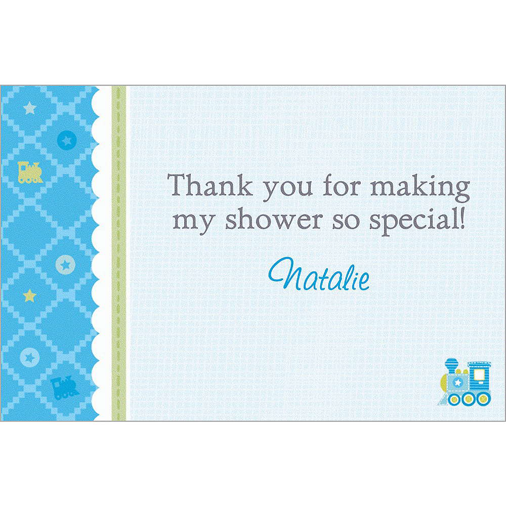 Custom Welcome Little One Boy Thank You Notes Image #1