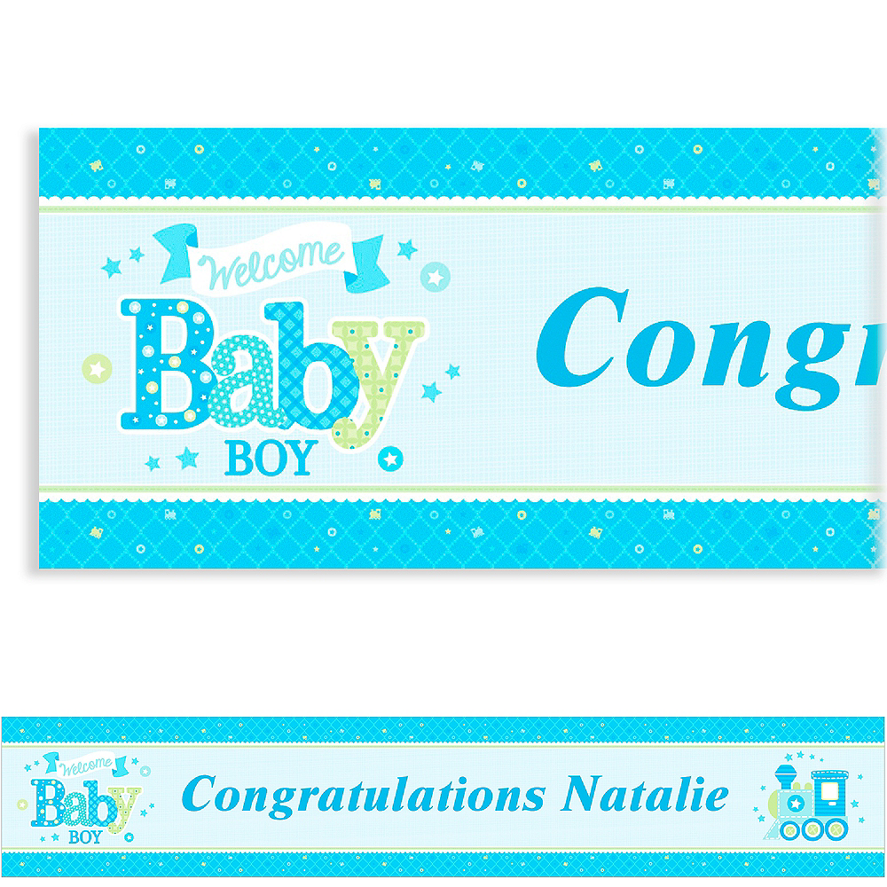 Custom Welcome Little One Boy Banner 6ft Image #1