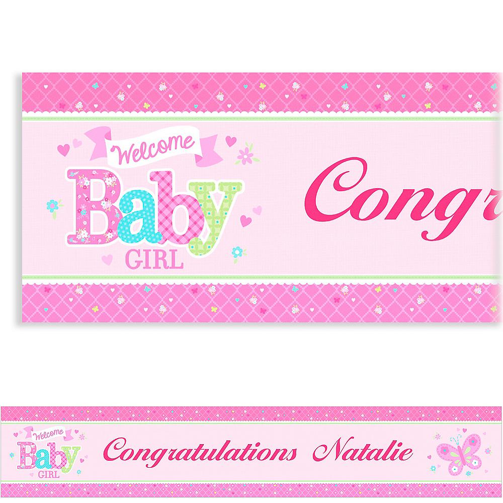 Custom Welcome Little One Girl Banner 6ft Image #1